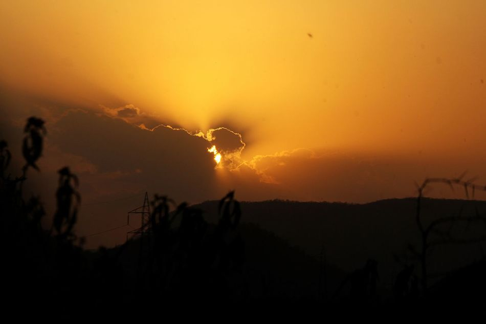 Silhouette Sunset Nature Outdoors Night Sky Tranquility Mountain No People Beauty In Nature Power In Nature Tree Scenics Check This Out Art Is Everywhere India