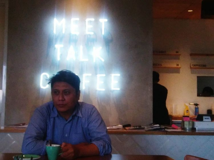 Let's talk about....anything you want.. One Person Men Coffee Cafe Coffee Time @crepakofie