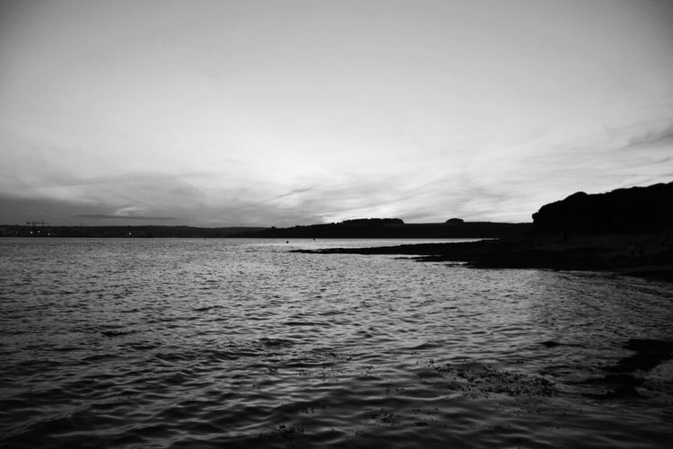 Tranquility Nature Sea Tranquil Scene Beauty In Nature Scenics Water Sky Outdoors No People Rippled Day Monochrome Black And White Photography Cornwall Uk Carrick Roads Beach Kernow