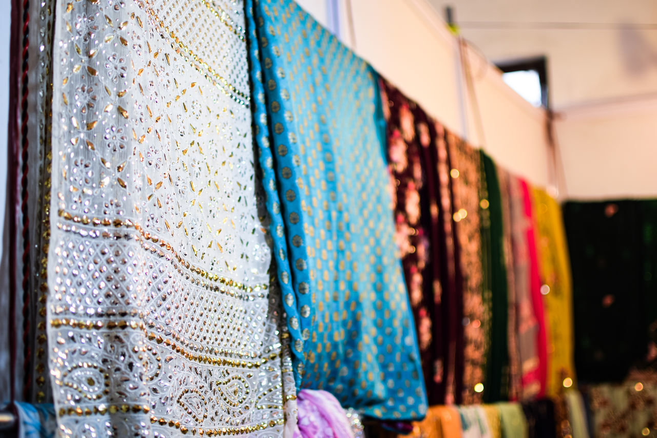 Close-Up Of Fabrics For Sale At Store