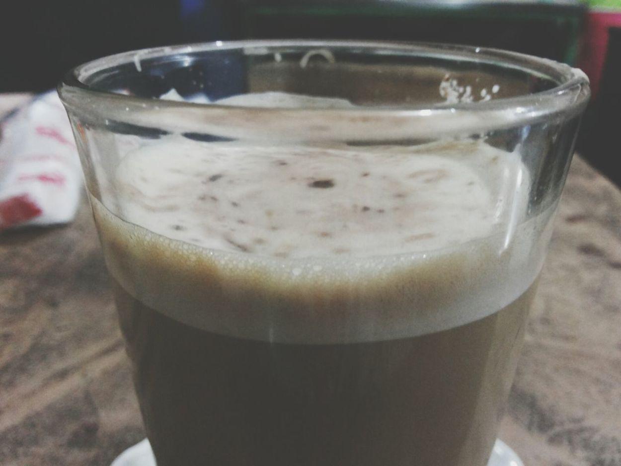 Drinking cappucinno
