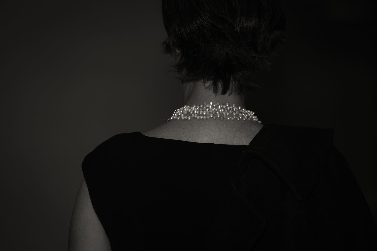 The Pearl Necklace Adult Adults Only Black And White Black Dress Blackandwhite Close-up Elegance Everywhere Elégance Fashion Femininity Indoors  Light And Shadow Necklace Noir One Person Pearl Necklace  Pearls People Real People Rear View Statement Unrecognizable Person Woman Woman Portrait Women