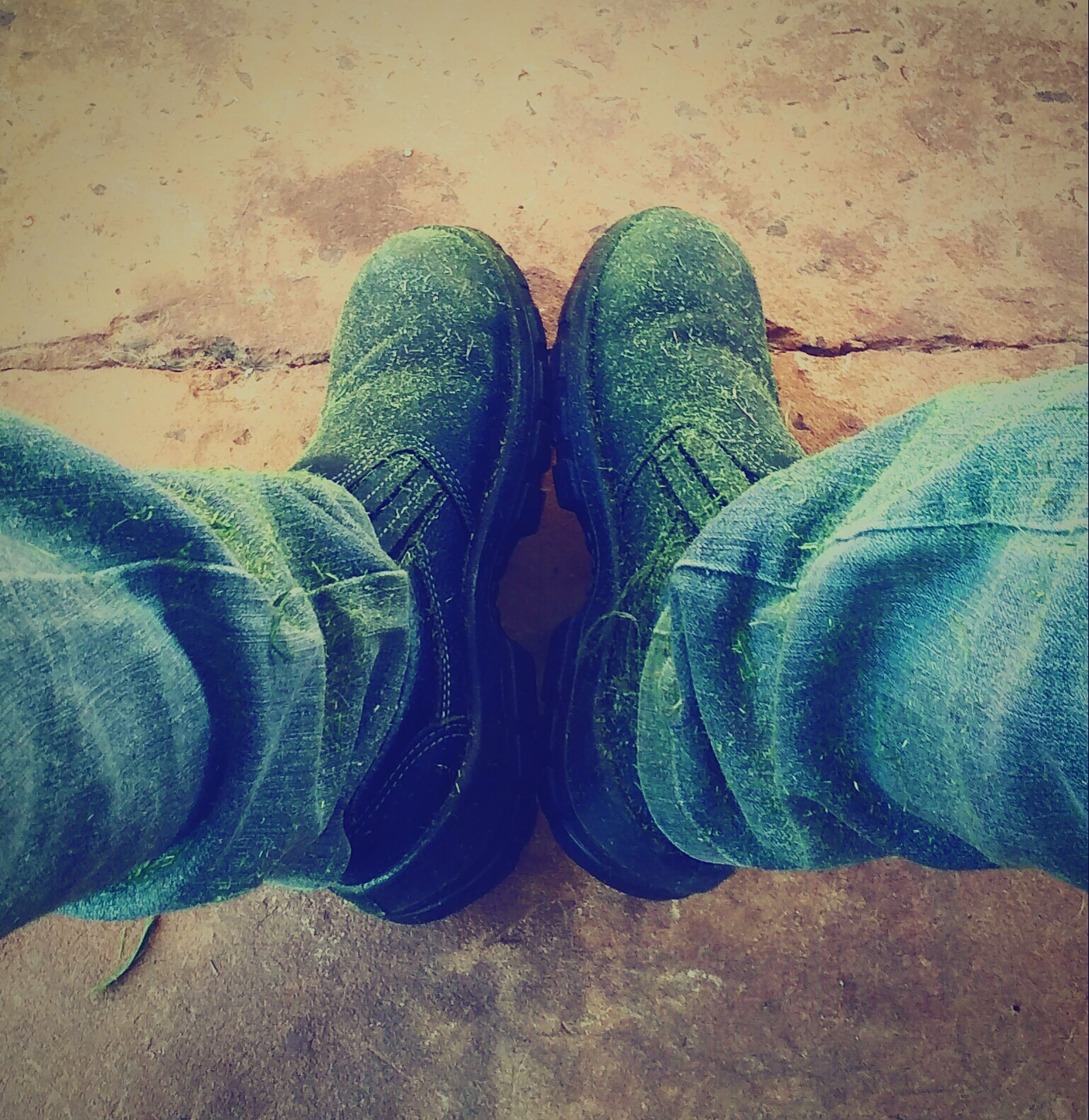 shoe, low section, person, high angle view, personal perspective, footwear, jeans, close-up, pair, standing, sand, part of, outdoors, unrecognizable person, human foot, day, men