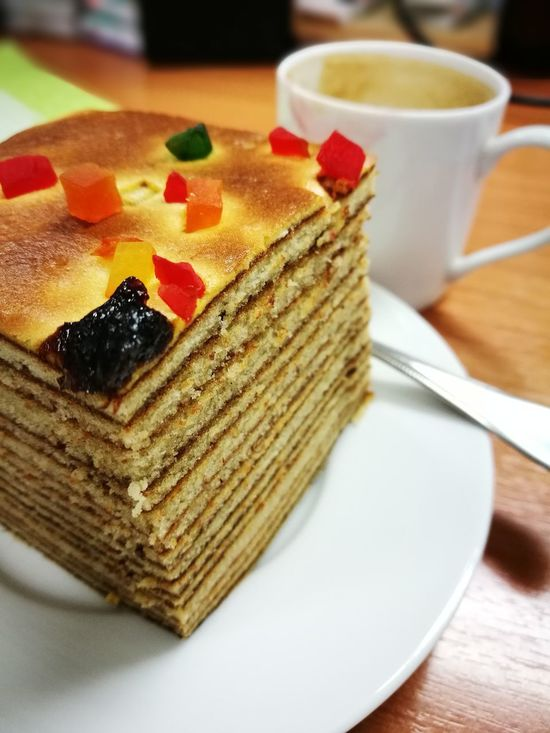 Layer Cake with Coffee in the morning Yum Yummy Cake Indoors  Sweet Food Ready-to-eat Close-up Indonesian Cake Coffee Coffeelover Coffee And Sweets Coffeeholic EyeEmCoffee Lover