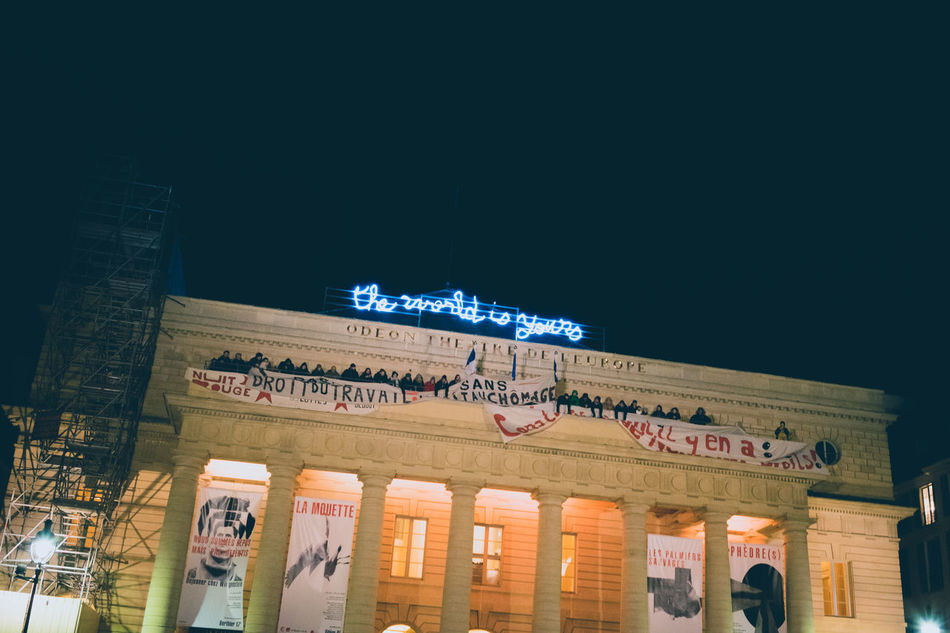 Architecture Architecture Built Structure Glow In The Dark Night Lights Outdoors Political Activism Propaganda Slogan Slogan And People Text The World Is Yours World Is Yours The Photojournalist - 2016 EyeEm Awards