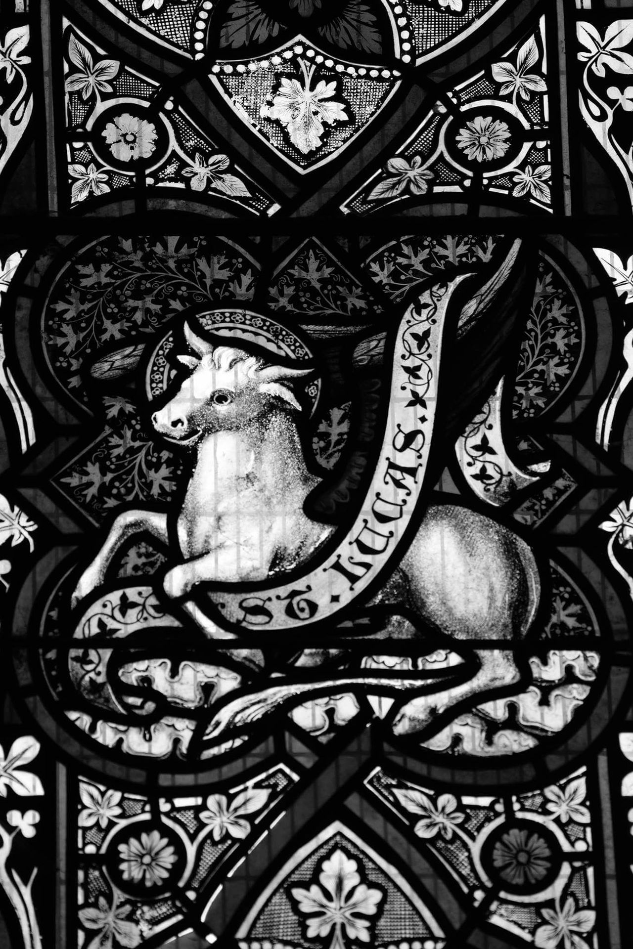 Close-up Indoors  Indoors  Black And Grey Religion And Beliefs Day Traditon Blackandwhite Stained Glass Window Church