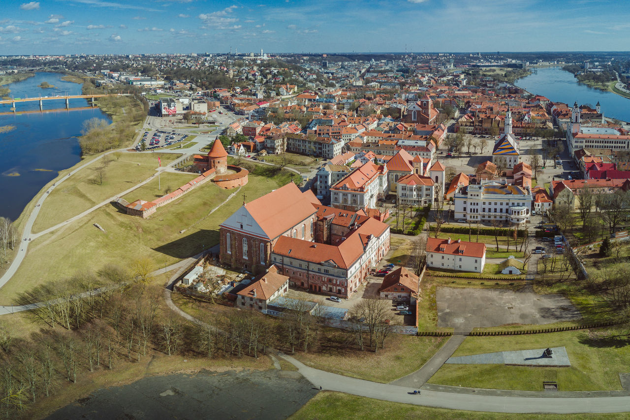 Kaunas old town Aerial View Architecture Building Exterior City Cityscape Day DJI Mavic Pro Drone  Flying High Lietuva Mavic Mavic Pro No People Old Town Outdoors Roof Sky Spring Water
