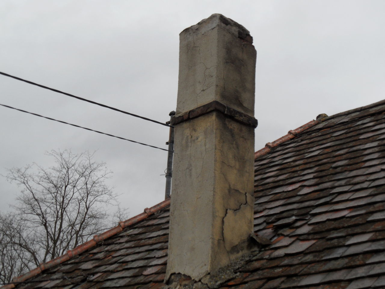 Abandoned Abandoned Buildings Architecture Broken Building Built Structure Chimney Day House Roof No People Old House Outdoors Overgrown Roof Schornstein Sky Tree Weathered