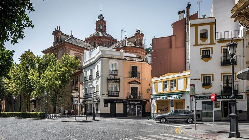 Streets of Seville Architecture Building Exterior Built Structure Outdoors Transportation No People City Day Sky Tree