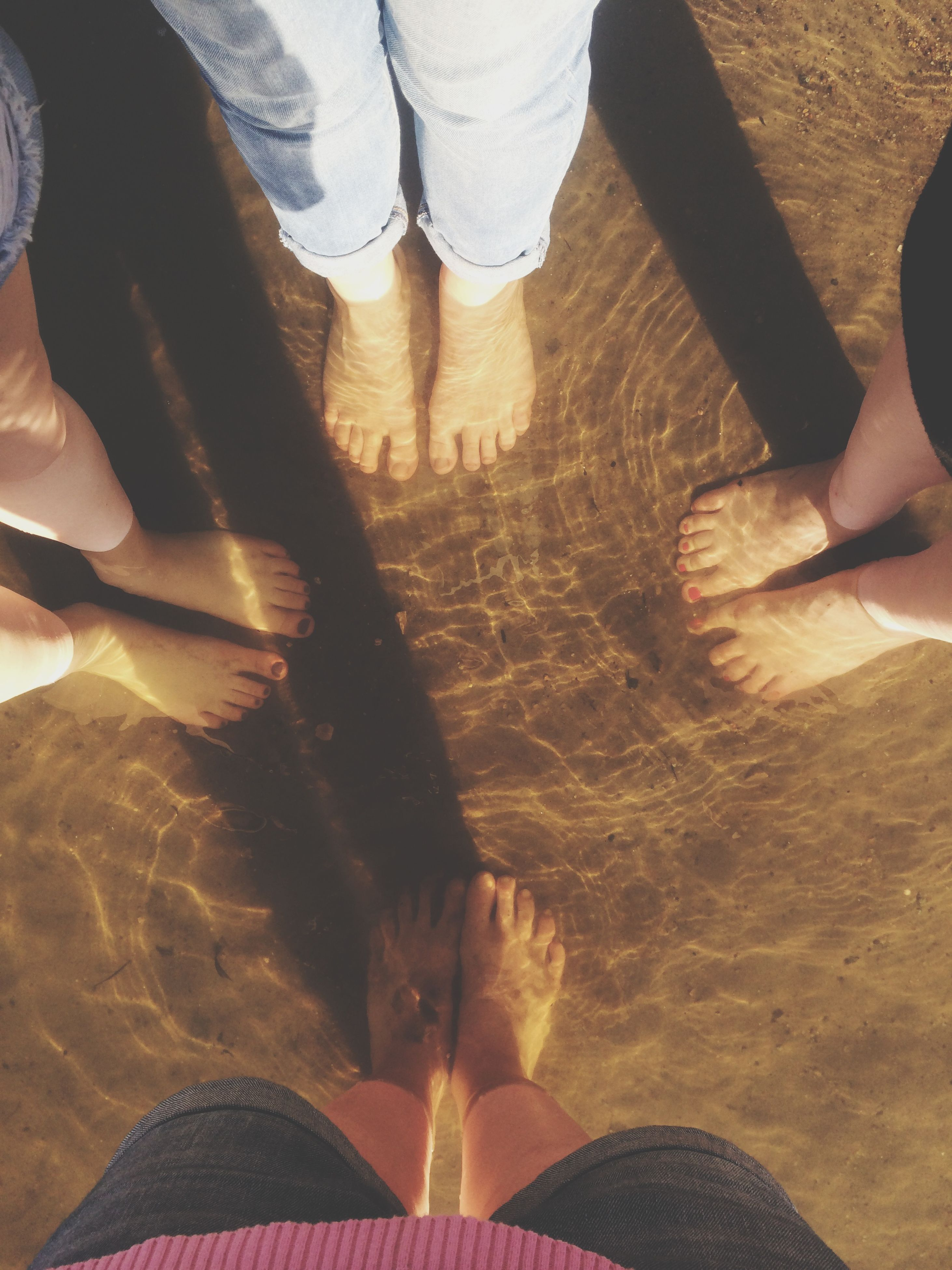 low section, person, lifestyles, leisure activity, human foot, standing, men, personal perspective, shoe, barefoot, high angle view, part of, sand, togetherness, unrecognizable person