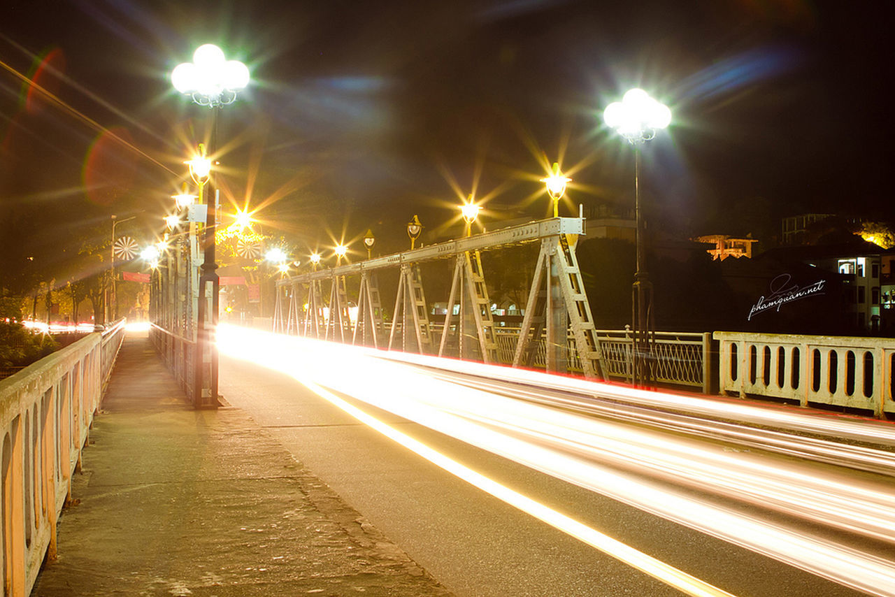 Night Illuminated Light Trail Long Exposure Speed Street Light Bridge - Man Made Structure Blurred Motion City Street Motion Transportation Road Outdoors No People Winter Sky Live For The Story