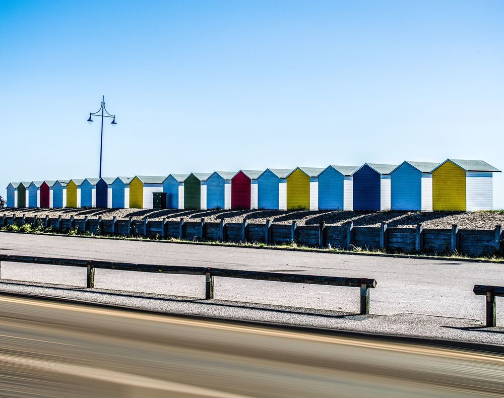 Seafront Beach Summer Colorful Colors Beachhut Sky