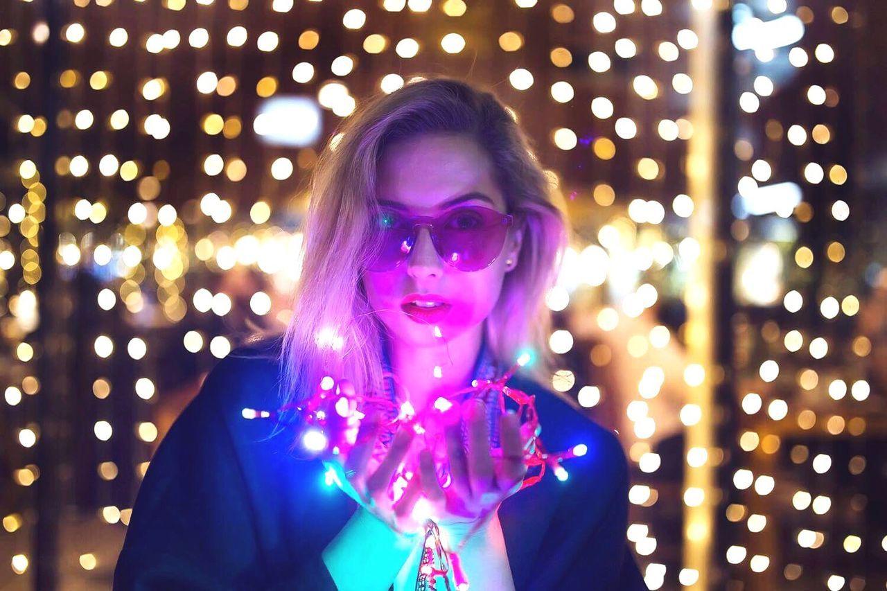 Light And Shadow Portrait Women Illuminated Headshot Christmas Lights Glitter Beautiful People People Modern City Night Lights