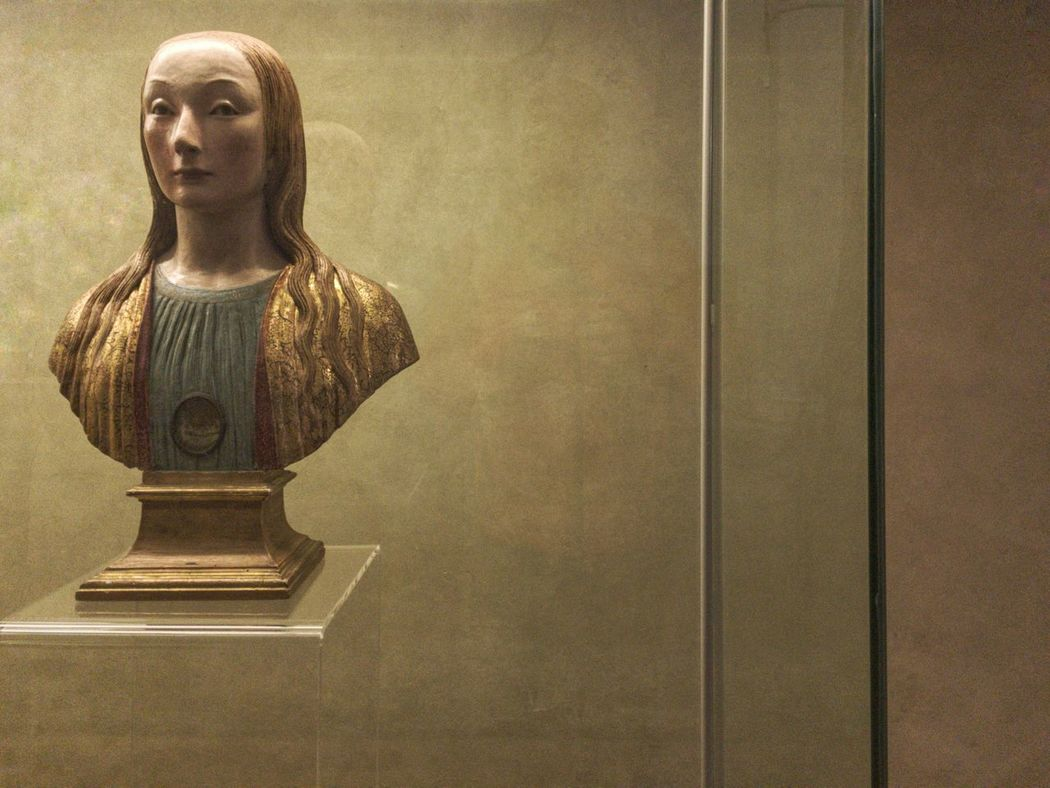 The simulacrum of the ancient saint. Art And Craft Human Representation Indoors  Museum No People On Display Painted Relic Religion Reliquary Sculpture Simulacrum Statue Woman Wood Wood - Material Wooden