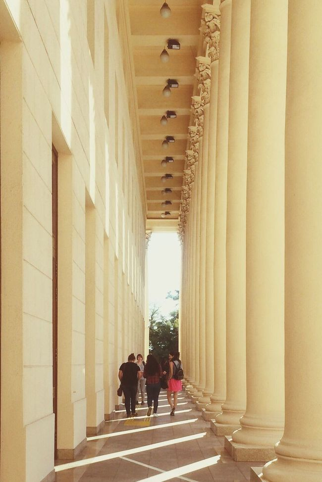 Architecture Students Student Life Theatre Sochi Colomns Antique Old Building  Perspective Tunnel Tunnel Of Columns Architectural Column Columns Series Columns Tender Light Soft Lights Soft Colours Theatre Building Beautiful Moment People Walking  Classic Elegance Elegant Big Hall Concert Hall