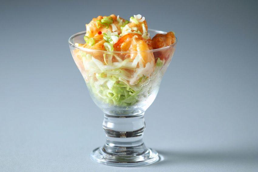 Food Studio Shot Ready-to-eat Appetizer Shrimp 😚 Dynamite Shrimp Spicy Sauce Glass Yummy Delecious 😚 Sup