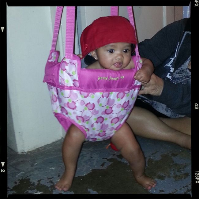 My Niece Baby Alize 1st Time Sitting In Her Swing