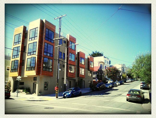 walking for a reason. on mc allister st. Walking Around Random Modern Street Photography Façade Blue Sky San Francisco Sunny Day Corners Architecture