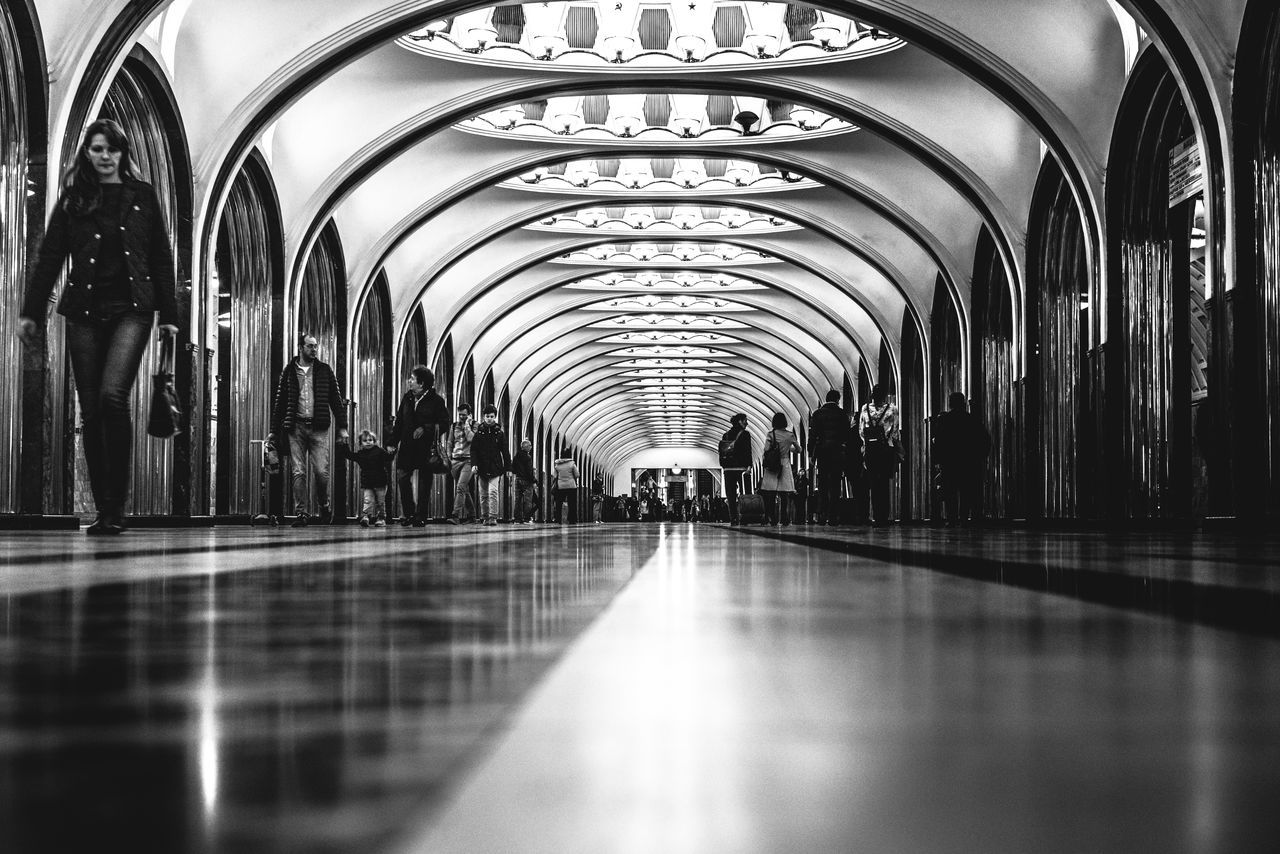 Arch Architectural Column Corridor Diminishing Perspective Empty Illuminated In A Row Interior Modern No People Repetition Selective Focus Surface Level The Way Forward Vanishing Point