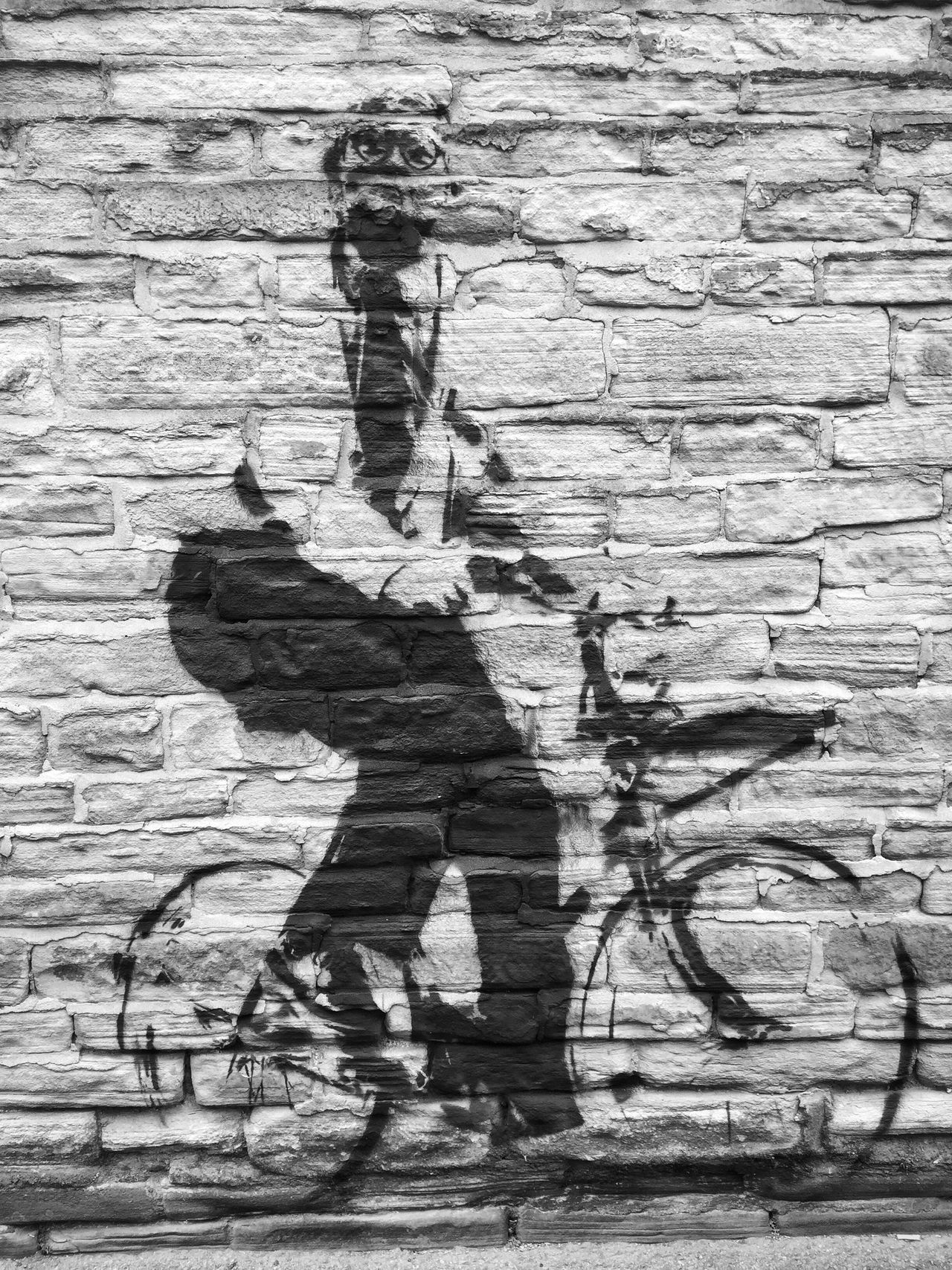 Brick Wall Male Figure Cycling Bike One Person Full Length Lifestyles Outdoors Leisure Activity Day Standing Architecture Adult People Davidhockney Hockney Artist Graffiti Streetphotography Streetart Stencil Tourdeyorkshire Bradford Blackandwhite Photography