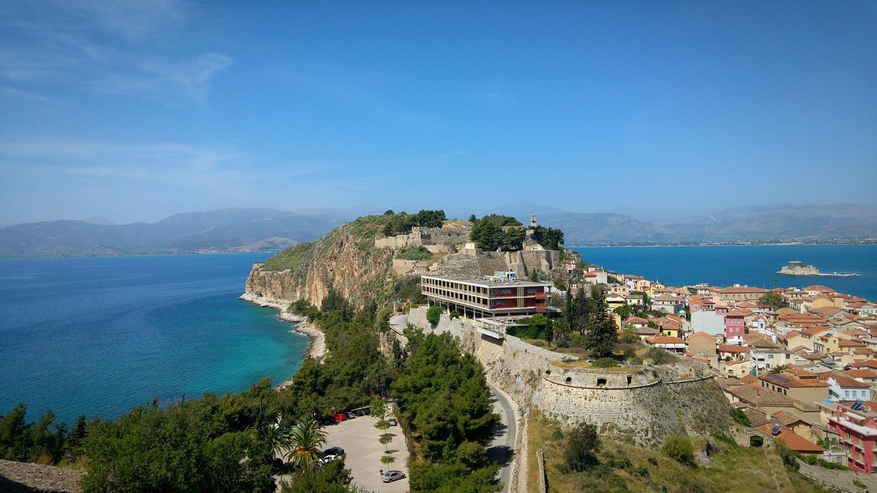 City Cityscapes City View  Seaside City Historic City Nafplio Peloponese Greece Seaside Seascape Rock Rock Formation Steep Cliff Sea Rock And Sea Mountains Mountains And Sea Urban Landscape Landscapes View From The Top View From Castle Viewpoint Amazing View Shades Of Blue View