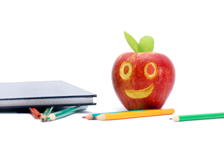 apple a day Apple Apple A Day Close-up Concept Day Education Eyes Food Fruit Funny Funny Faces Math No People Pen Pencil Red Apple School Smile Smiling Apple Smiling Face