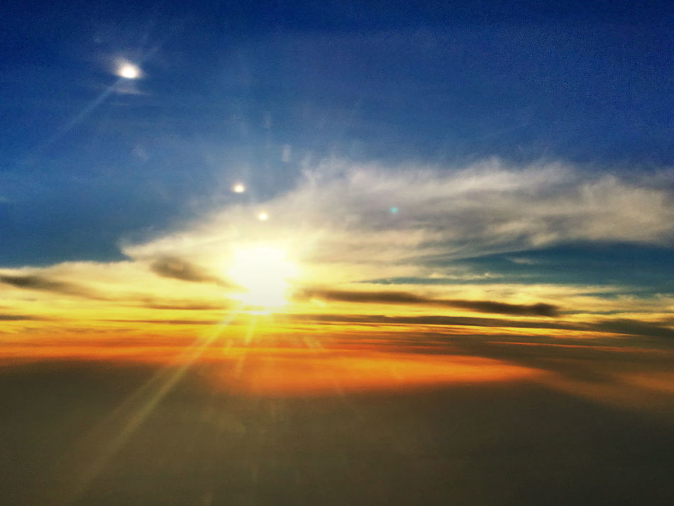 Airplane Wing Beauty In Nature Day Landscape Nature No People Outdoors Scenics Sky Sun Sunbeam Sunset Tranquil Scene