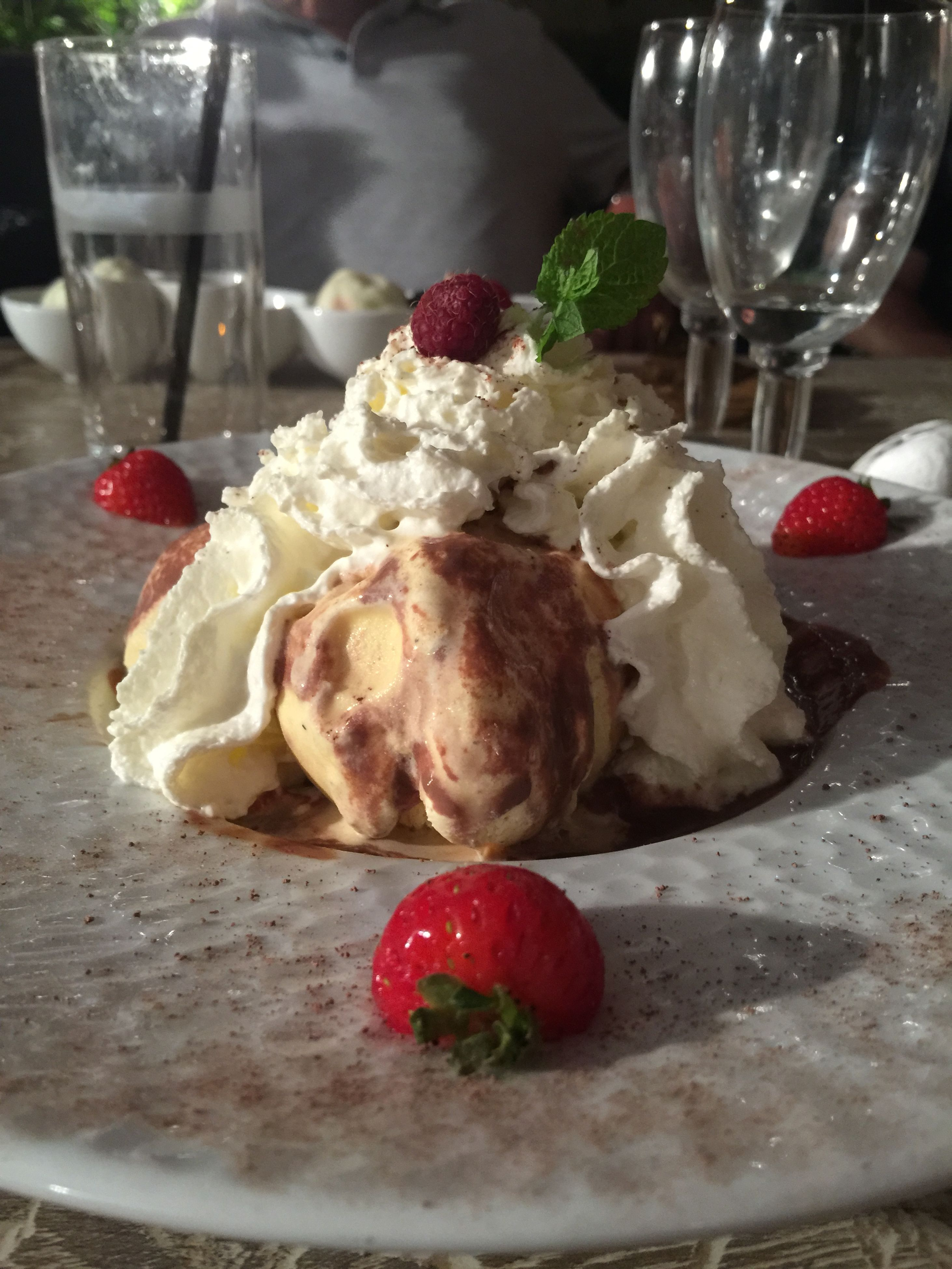 food and drink, food, freshness, ready-to-eat, sweet food, indoors, dessert, indulgence, plate, fruit, still life, close-up, strawberry, unhealthy eating, temptation, cake, table, serving size, ice cream