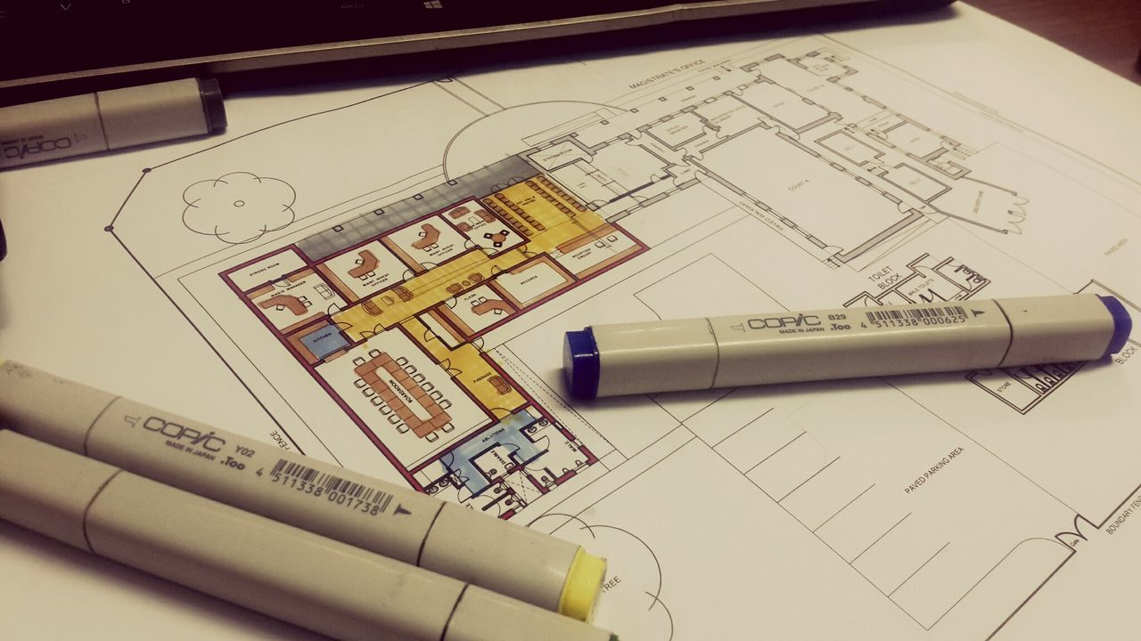 paper, high angle view, indoors, plan, technology, no people, close-up, architecture, day