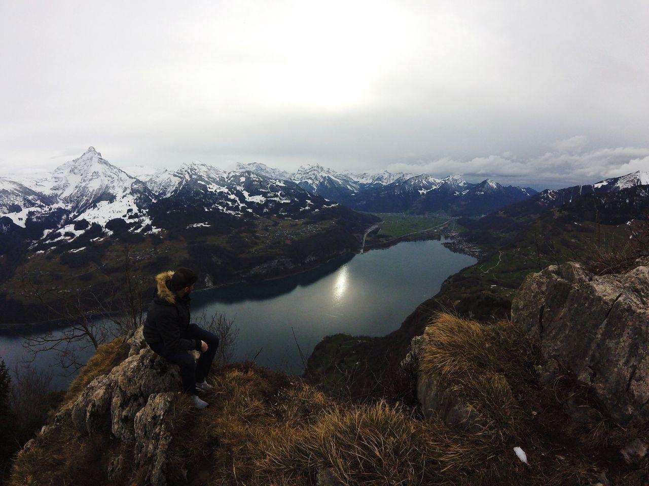 always look forward Swiss Alps Mountain Landscape Sky Walensee