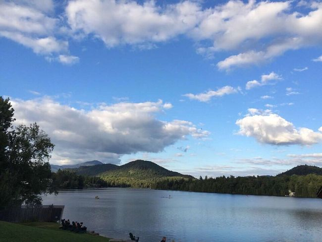 Sometimes you just need to look up and smile. Water Tranquil Scene Tranquility Beauty In Nature Lake Sky Nature Adirondack , New York, USA Mirror Lake Tranquility No Filter Nature Photography