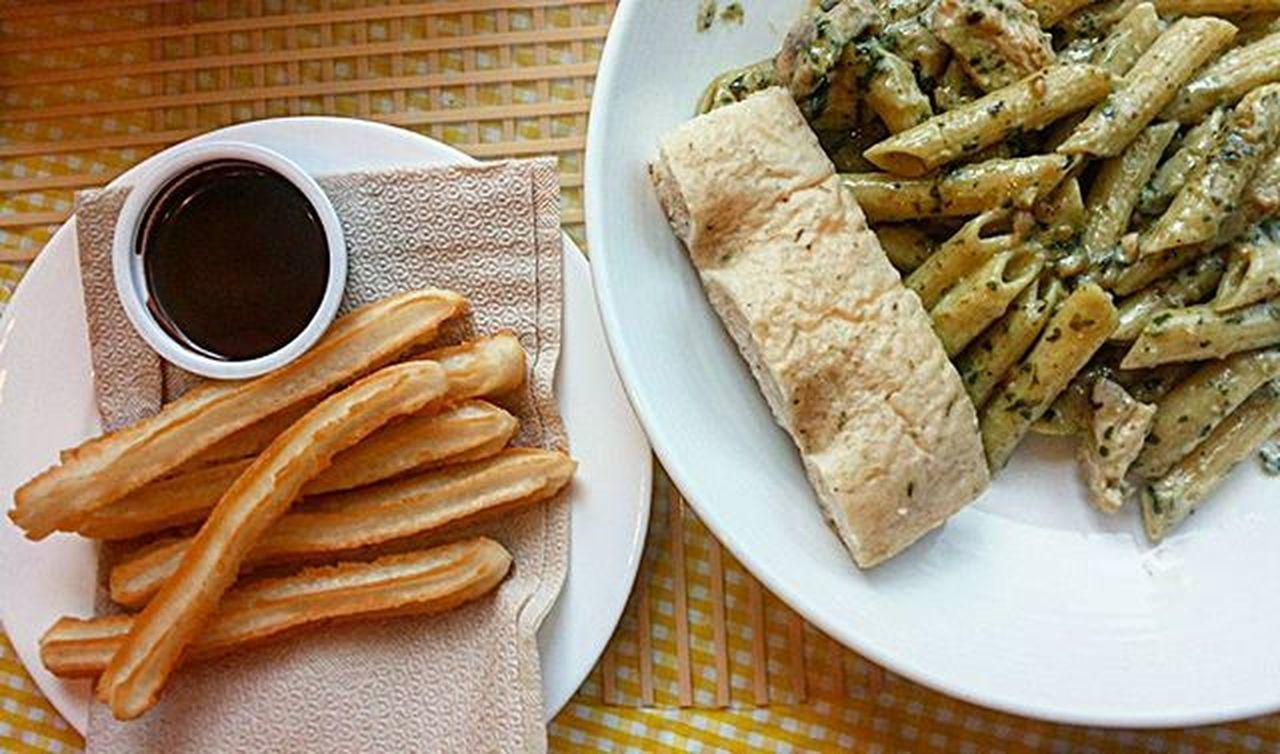 "Our ""light"" breakfast - CreamyPestowithGrilledChicken and Churros . Puyat kami eh bakit ba. Creamy Pesto With Grilled Chicken Churros"