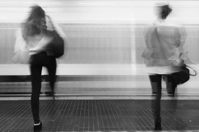 Subway Life In Motion Slow Shutter Blackandwhite