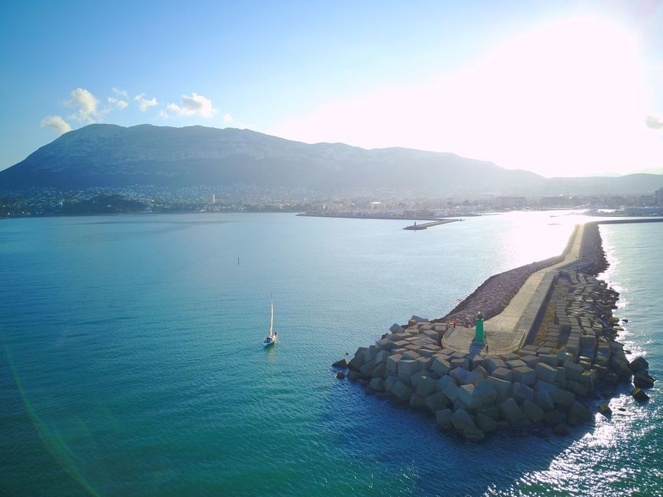 Water Mountain Sea Beauty In Nature Nature Sky Scenics Tranquil Scene Idyllic Outdoors No People Day Nautical Vessel SPAIN Drone  Denia Harbor Harbour Harbour View