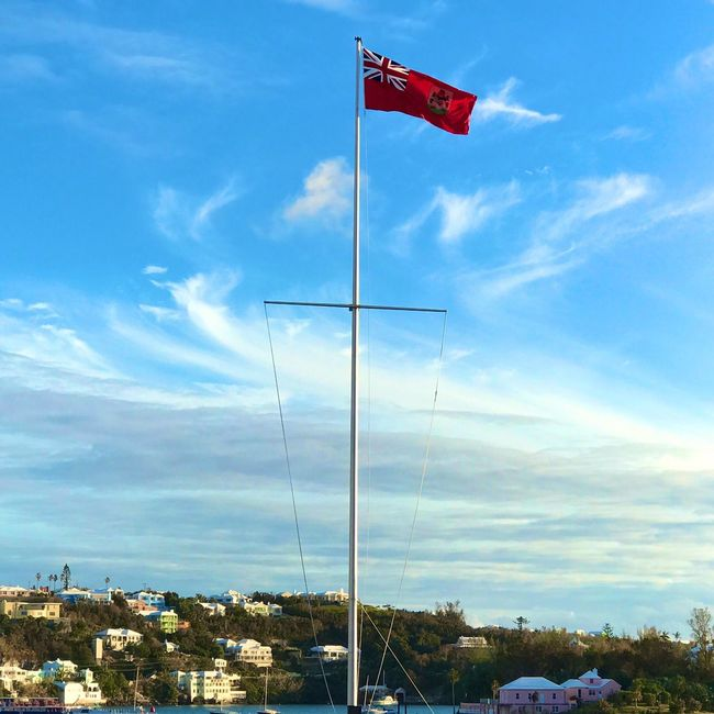 Flying High Bermuda Frontstreet  Flag Bermuda Flag Sky Cloud - Sky No People Patriotism Low Angle View Day Nature Outdoors