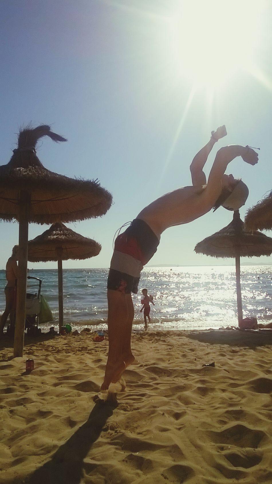 Backflip Mallorca Beach Parkour Freerunning Clear Sky Summer Growth Looking Up Sky Sea Sun Flip
