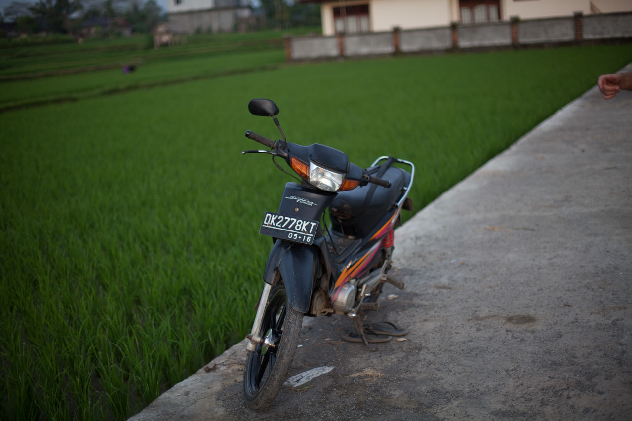 bicycle, transportation, mode of transport, land vehicle, outdoors, day, grass, built structure, architecture, stationary, real people, building exterior, nature, one person, people