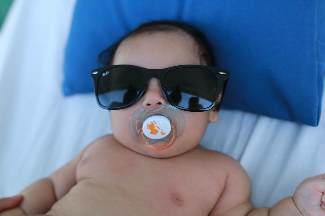 Baby Blue Boy Human Face Pacifier Sunglasses Young Adult