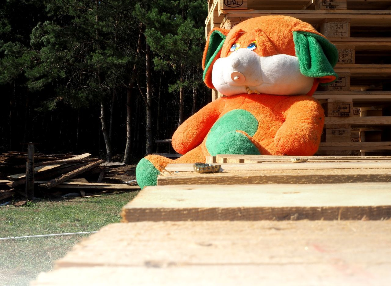 wood - material, no people, outdoors, day, teddy bear, stuffed toy