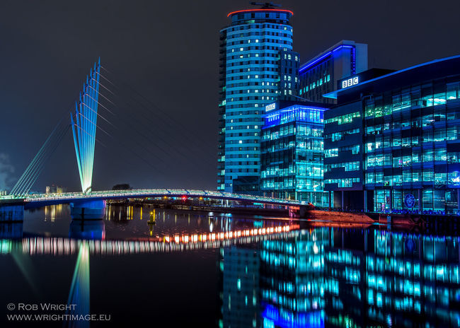 Media City, Manchester. BBC Mediacityuk Media City Salford Manchester Long Exposure Nightphotography Night Photography Water Reflection Reflections