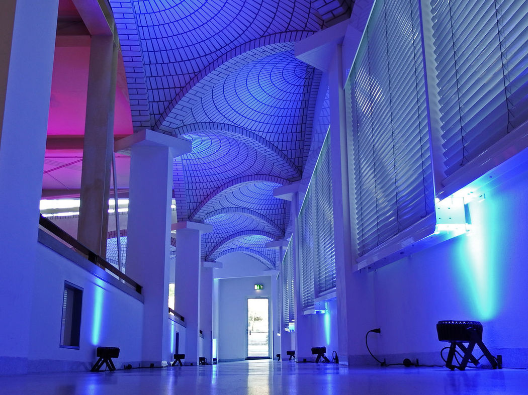Architecture Blue Built Structure Electric Lamp Electric Light Illuminated Indoors  Low Angle View Mannheim No People Technoseum