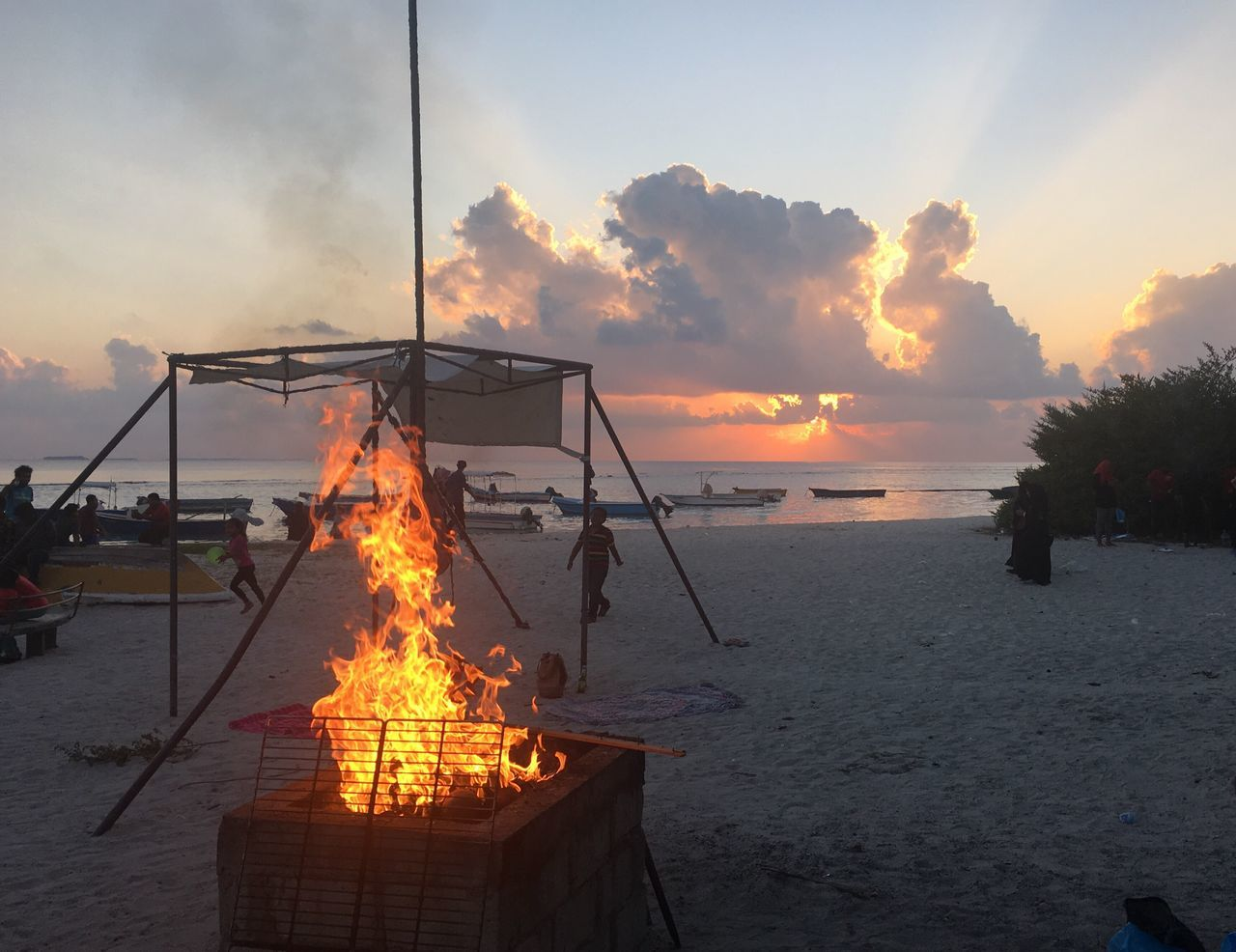 Sunset Heat - Temperature Sea Flame Orange Color Sky Nature Outdoors Burning Water No People Beach Barbecue Beach Barbecue Barbecue Beach Villingili Maldives Local Island Villingilli Beach Fire Skyonfire EyeEmNewHere