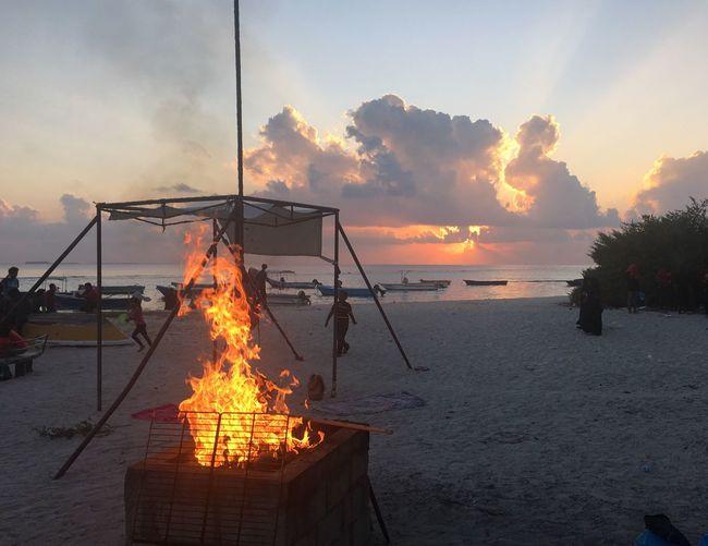 Sunset Heat - Temperature Sea Flame Orange Color Sky Nature Outdoors Burning Water No People Beach Barbecue Beach Barbecue Barbecue Beach Villingili Maldives Local Island Villingilli Beach Fire Skyonfire EyeEmNewHere