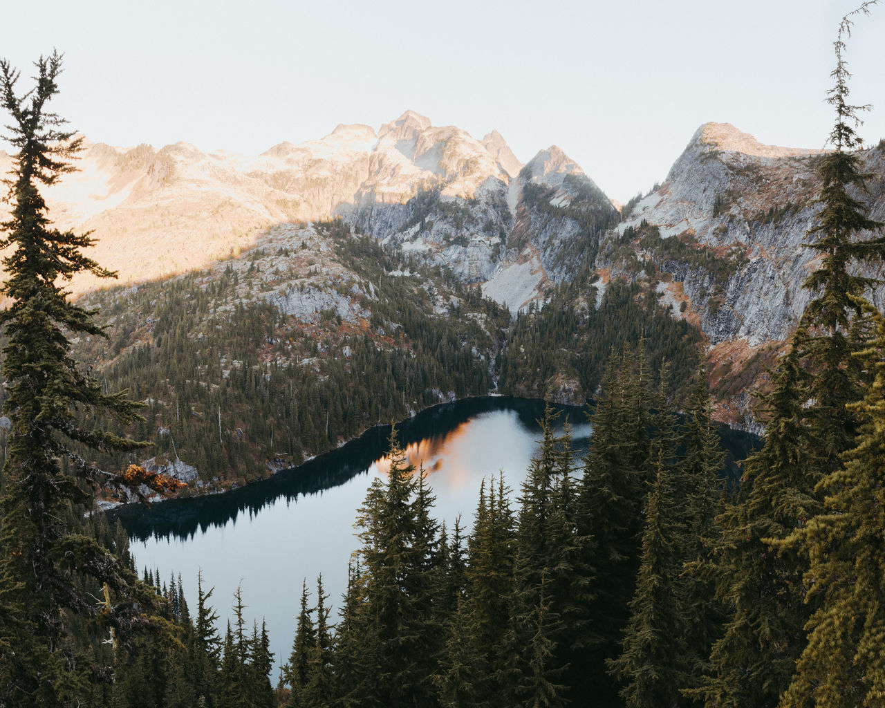 Sunrise hike in washington state Adventure Beauty In Nature Clear Sky Day Forest Lake Landscape Mountain Mountain Range Nature No People Outdoors PNW Scenics Sky Sunrise Tranquil Scene Tranquility Washington State Water