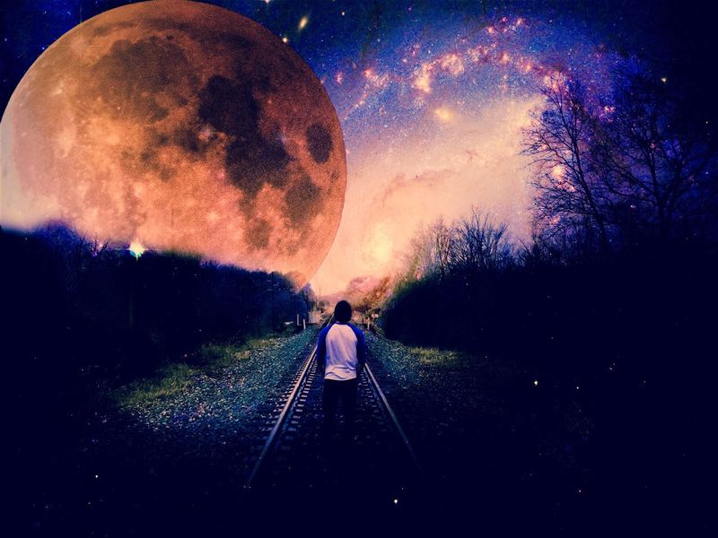 Moon Night Real People Full Length One Person Sky Star - Space Rear View Astronomy Space Men Outdoors Lifestyles Standing Nature Galaxy Adult People