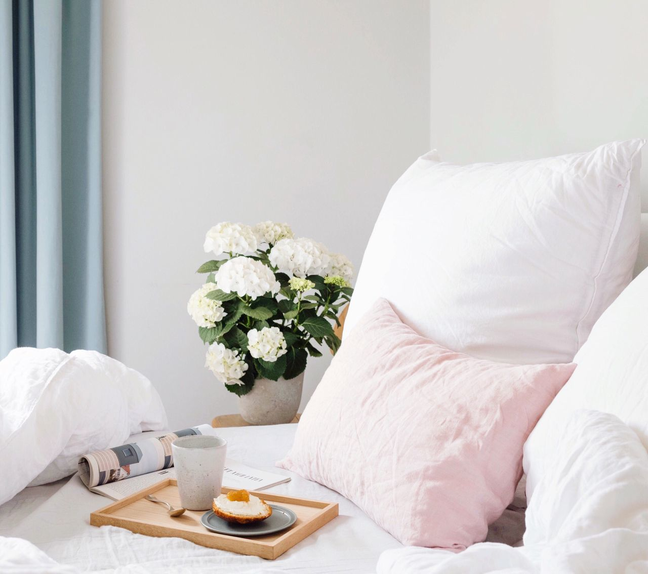 Breakfast Breakfast Time Breakfast In Bed Food And Drink Scones And Jam Linen Bedding Bedroom Bed Flower Indoors  White Color Morning Home Interior Healthy Eating Food And Drink Croissant Breakfast Domestic Life No People Cosy Slowlife Slow Day Relaxing Moments Morning Light