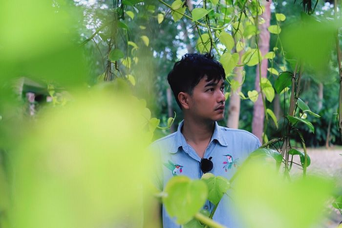 Lost One Person Green Color Plant Tree Nature Outdoors Beauty In Nature Black Hair Casual Clothing