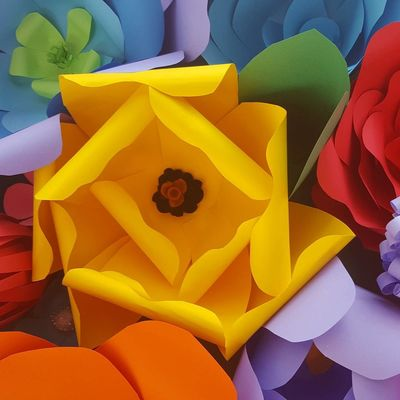 Paper flowers Yellow Full Frame Backgrounds Flower No People Multi Colored Close-up Nature Day Fragility Indoors  Paper Art