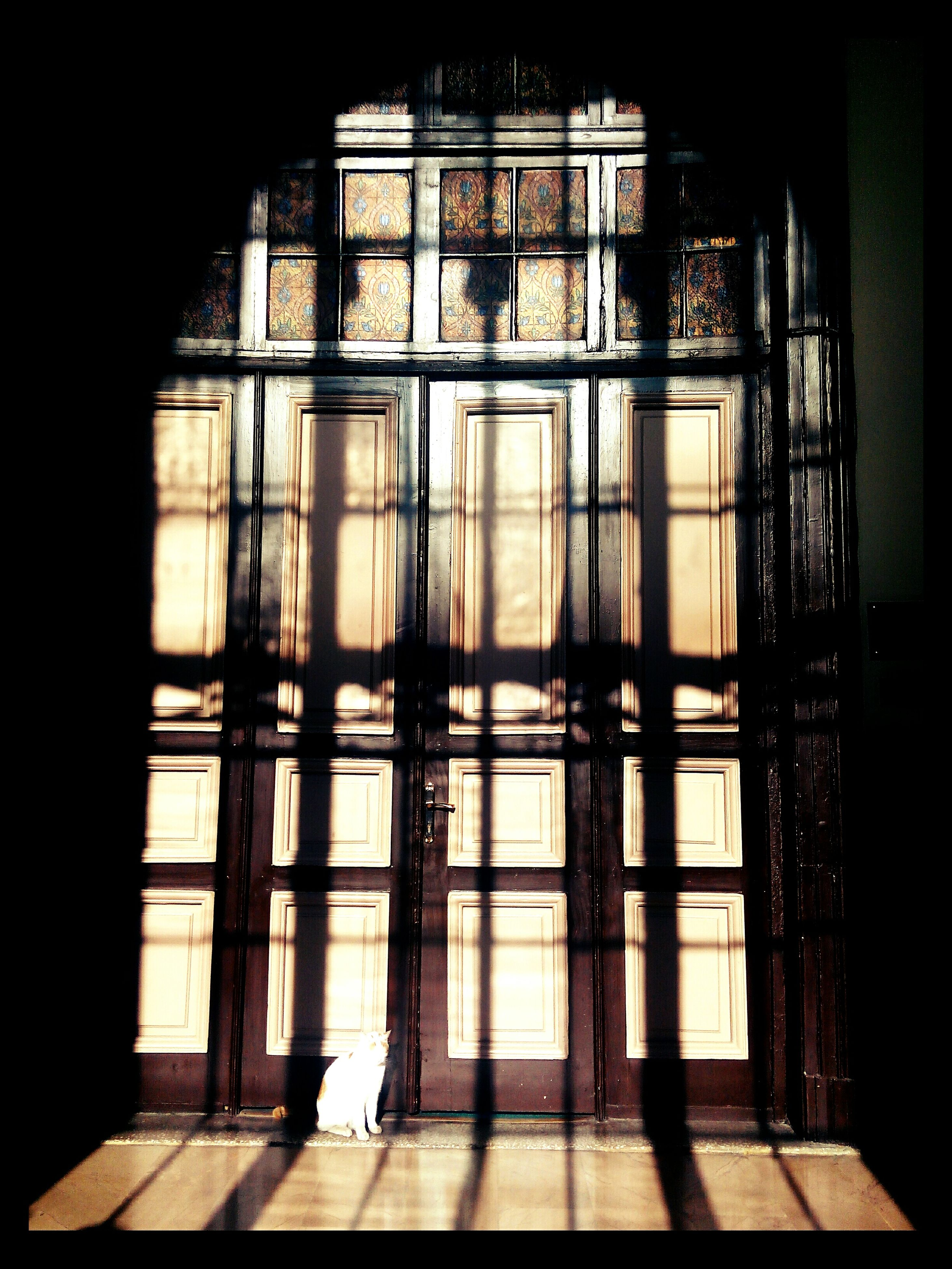 architecture, built structure, window, indoors, building exterior, night, illuminated, dark, glass - material, shadow, sunlight, door, no people, home interior, house, reflection, entrance, building, closed