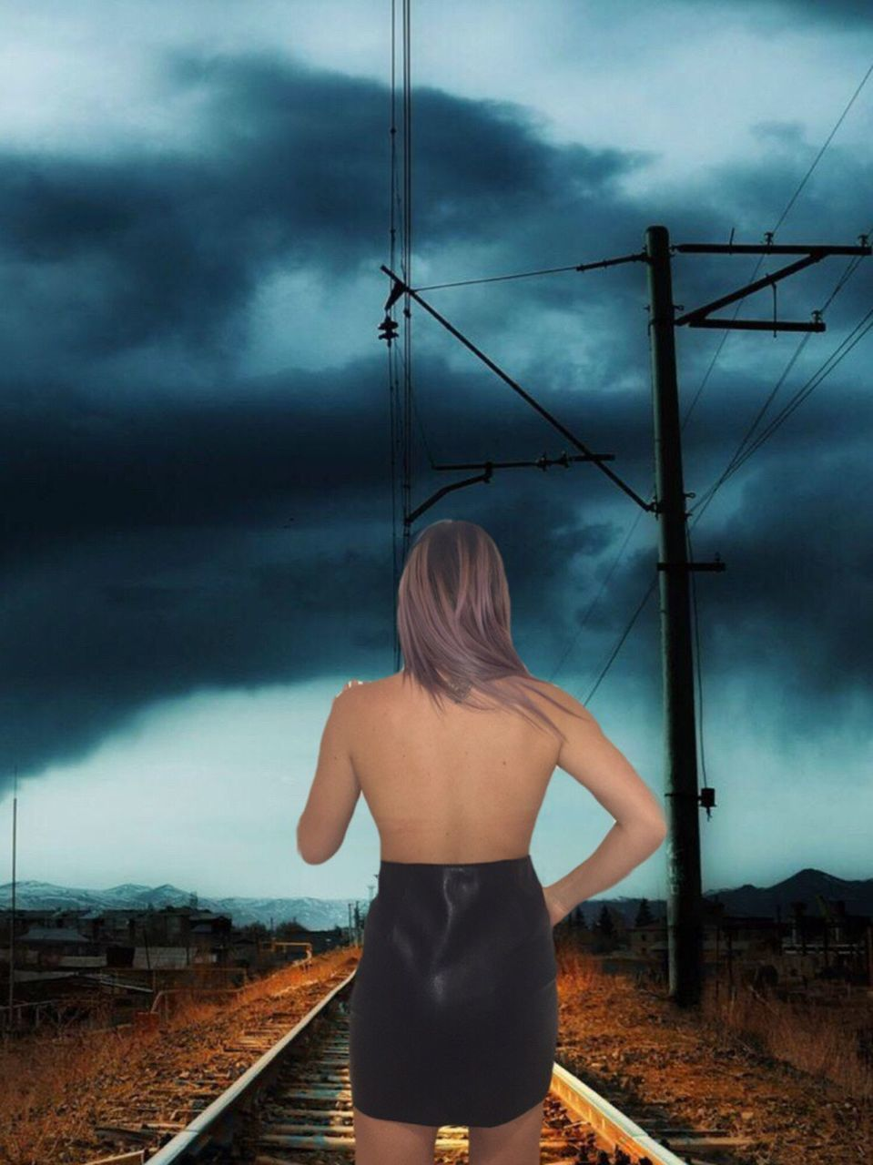 rear view, real people, cloud - sky, one person, sky, standing, outdoors, transportation, lifestyles, young adult, day, women, young women, technology, nature, people